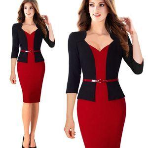 Elegantes einteiliges Patchwork-Dame Business Office Kleid Casual Wear To Work Belted Women Formal Bodycon Enges Kleid