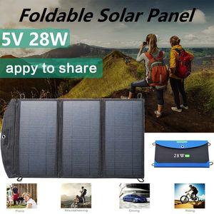 5 V 28 W Painéis Solares de Emergência ao ar livre Portátil Dobrável À Prova D 'Água Dual USB Carregador de Painel Solar Banco de Potência para Bateria de Telefone