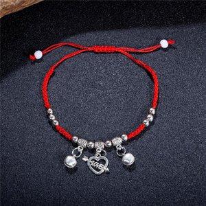 LINDAJOUX Romantische Rote Faden Amulett String-Höhle-Herz mit Pfeil-Charme-Kettenarmbänder für Frauen Freundschaft Dropship