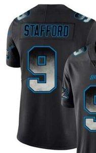2020 Hombre Detroit 9 Jersey Camisetas Hombre Negro Smoke Fashion Limited Jersey Camisetas de fútbol americano