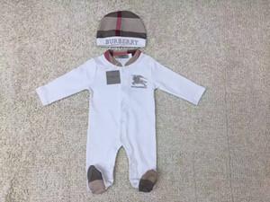 2pcs Set Bebê Romper clássico grade recém-nascido jumpsuits cavalo bordada toddlers Coverall / Romper crianças marca de roupas de alta qualidade