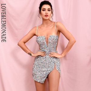 LOVE LEMONADE Sexy Tube Top Silver Cut Out Stretch Sequin Bodycon Party Mini Dress LM82289 Y200418