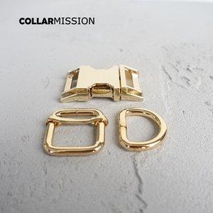 100pcs / lot (boucle en métal + ajuster boucle + anneau D / set) collier de chien bricolage 20 mm couture sangle d'or accessoire boucle plaqué de haute qualité