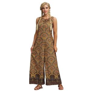 Combinaisons sans manches pour femmes National Dress Lâche Beach Seaside Wear Combinaisons d'été pour femmes