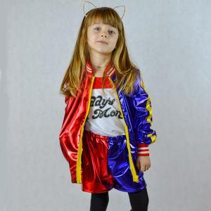 Kinder quinn Cosplay Kostüm Mädchen Suicide Squad Quinn Stickerei Sets Jacke Joker Shorts Monster Clown Kleid