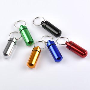 여행 알루미늄 합금 방수 알약 상자 케이스 열쇠 고리 열쇠 고리 의학 저장 주최자 병 홀더 컨테이너 키 체인 DBC BH3268