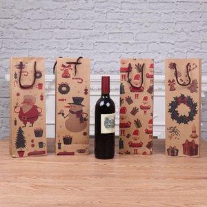 Christmas Wine Bottle Decor Bag Santa Claus Snowman Deer Bottle Bag Kitchen Decoration New Year Xmas Wine Bag Dinner Party CT0254