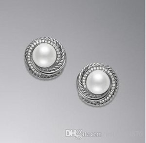 new women female ladies Personality David YM copper big pearl crystals diamonds earrings Unique design drop earring studs free shipping