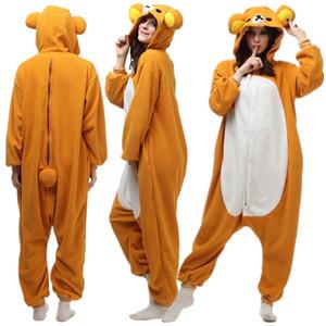 Взрослый флис косплей ленивый медведь костюм мультфильм животных Onesie пижама хэллоуин карнавал маскарад партии комбинезон