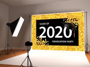 Classe del 2020 Sfondo festa di laurea Foto sfondo giallo oro laurea Stagione fondali fotografia per gli studenti Prom riprese in studio