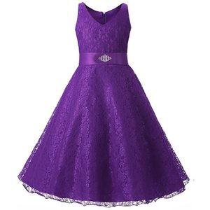 Fashionable girl lace dress diamond belt princess evening dress party girl dress 13