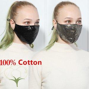 Máscara protectora de la cara del diseño único de la lentejuela de Bling Bling PM2.5 a prueba de polvo Boca cubierta lavable reutilización de la mascarilla de la máscara elástico Earloop Boca