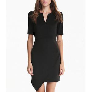 Мода женщины карандаш работа платье окунитесь V шеи назад короткие Cap рукавом тонкий ol работы вечеринки офис платье женщины работают носить черный
