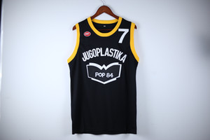 Cuadros verdaderos Toni Kukoc # 7 Jugoplastika POP 84 Baloncesto YUGOSLAVIA Negro retro jerseys para hombre cosido encargo cualquier Número Nombre