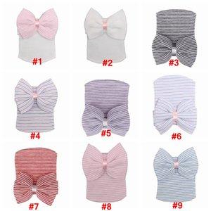 Bebê bowknot Chapéus Gorros Bebé bonito macio Knitting Hedging Caps com grandes laços Quente Tire Cotton Cap recém-nascido XD22607 infantil