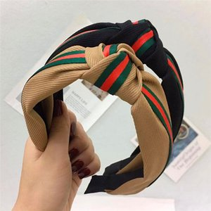 Fashion Striped Ribbon Headband Net Red Middle Knot Simple Wide brimmed Wild Head Buckle Hair Accessories Six Colors