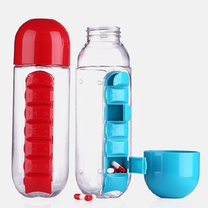 600ML Water Plastic Bottle With A Day Organizer Pill Box Drinking Bottles Travel Hot Water Bottle