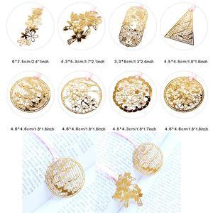 Flores de cerezo Marcador de metal Creativo Ahuecar hacia fuera Marcadores dorados lindos Clip de papel Oficina Escuela Estudiantes Mini marcadores BH1451 TQQ