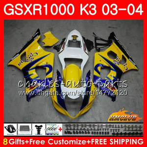 SUZUKI GSXR1000 GSXR 1000 GSXR1000 03 04 Vücut 15HC.9 Kaporta GSX R1000 K3 GSXR1000 03 04 2003 2004 Sarı satış Kalafatlama seti için Çerçeve
