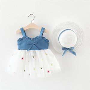 Çocuk Tasarımcı Giyim Kız Kız Yelek Elbise Yaz Yeni Stil Çocuk Kot Etek Bebek Kolsuz Suspender Etek Mesh Etek Onarılan