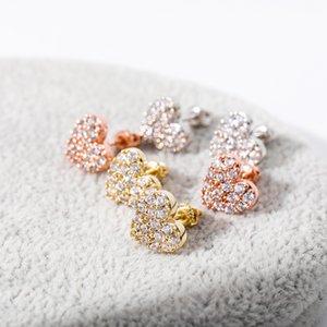 Luxury 100% 925 Sterling Silver Earrings Cubic Zircon Heart Stud Earrings For Women And Girl Jewelry Gift