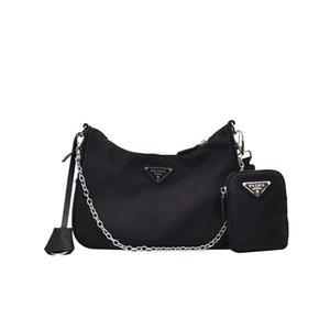 Mujer de la vendimia simple pequeña bolsa de tela de nylon Plaza diseñador del hombro de la cadena bolsa de mensajero de moda ancha correa de hombro del bolso de Crossbody