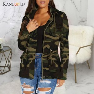 Long Sleeve Camouflage Bomber caduta cappotto casuale Zipper Tooling vento Giacca KANCOOLD Giacca Cappello donna coulisse
