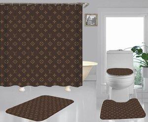 Nuovo arrivo impermeabile modello classico Brown Fiore tenda della doccia tessuto molle Toilet Seat Cushion bagno tende per la decorazione domestica