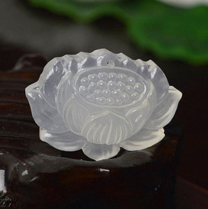 Natural Ice Seed White Chalcedony Lotus Pendant