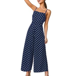 JAYCOSIN NOUVEAU Womens Polka Dot Holiday Holiday Leg Pantalon Long Combinaison Dos Nu Bretelles Playsuit Dropshiping 19JUN9
