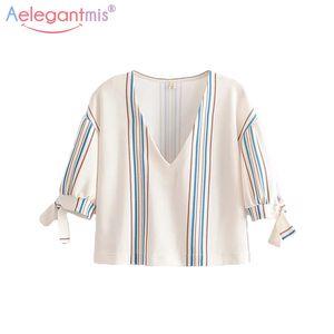 Aelegantmis Seksi Derin V Boyun Bahar Yaz Yeni Kadın Bluz Zarif Yarım Kollu Çizgili Bluzlar Bayanlar Casual Gömlek Tops