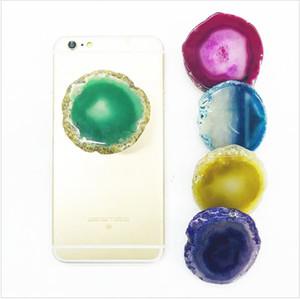 Envío DHL Real Marble Stone / Agate Stone Soporte para teléfono celular Universal Finger Holder Grip Soporte de soporte expandible con paquete de bolsa Opp Pegamento 3M