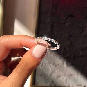 Мода оригинал 100% стерлингового серебра 925 пробы группа кольца женщины свадебные ювелирные изделия подарок классический имитация платины Алмаз CZ кольцо