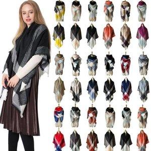 Plaid Scarves Girls Shawl Grid Tassel Wraps Fashion Lattice Square Neck Scarf Fringed Pashmina Winter Neckerchief Blankets 140*140cm C1522