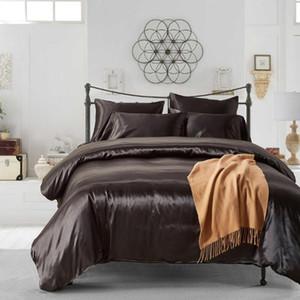 3pcs Literie Mode lavable solide souple en soie Housse de couette Taie Fournitures de lit pour Home Hôtel Queen / King / TWIN Taille