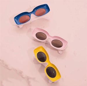 Nova moda óculos de sol cor especial moldura quadrada lentes redondas estilo Avant-garde design louco interessante