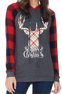 Vestimenta Ropa de la moda para mujer otoño diseñador de la tela escocesa de Navidad sudaderas suéter de manga larga Festival de Estilo Femenino