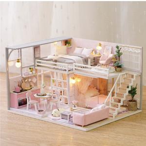 Çocuklar Kız sevgiliye için Diy Doll House Minyatür Dollhouse Kiti Pembe Kız Daire Mini Ahşap Model Ev Bulmaca Oyuncak