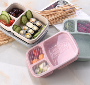 3Grid Wheat Straw Lunch Box Microwave Bento Boxes Natural Student Portable Food Fruit Storage Box Tableware 4styles GGA2845