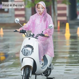 Electric bicycle with sleeves Bicycle scooter scooter single double double brim detachable brim raincoat poncho