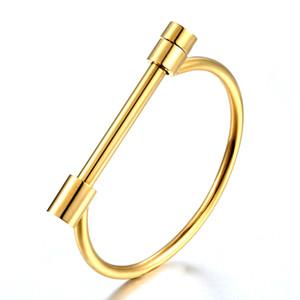 Aço inoxidável moda Horseshoe Parafuso Pulseira de Punho da cor do ouro Pulseiras Bangles Para Mulheres Amor pulseira atacado