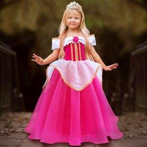 여자 핑크 잠자는 공주 의상 아이 크리스마스 파티 생일 멋진 드레스 Y200317 에 대 한 YOFEEL 오로라 최대 의상