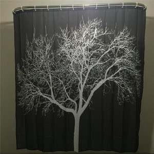 Wholesale- SenHome Latest Design Black Snow Big Tree Printed Polyester Shower Curtain Bathroom Curtain Hot Selling