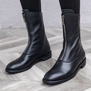 retro casual  boots womens spring autumn boots front zipper booties low heel round toe white flat women mid calf