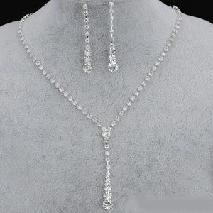 Bling Кристалл Люкс комплект ювелирных изделий посеребренные ожерелье серьги свадебные украшения наборы для подружек невесты, аксессуары невесты