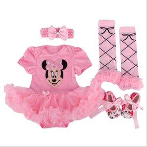 Vêtements de bébé nouveau-né fille Cartoon barboteuses Tutu Jupe + Bandeau + Chaussures + Chaussettes Vêtements enfants Coton 1er cadeau d'anniversaire