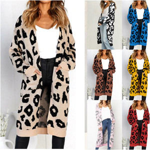 Womens Designer Knit Cardigan Leopard Print Sweaters for Youth Girls Casual Tops Extended Knit Cardigan Clothing Coat 10 Styles