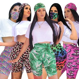 Latest 2020 Fashion Women Three Pieces Sets Multicolors Printing Sports Shorts + White T Shirt Leopard Leaves Patterns Summer Holidays