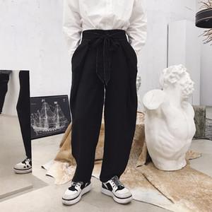 27-46 2019 Neue Herrenbekleidung Hair Stylist Butterfly Belt Decoration gerade beiläufige Hose mit weitem Bein plus Größenkostüme