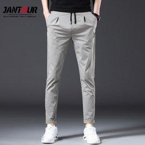 Jantour Marque 2019 Pantalons simple Printemps Eté Hommes Coton Slim Fit chino Mode Hommes Pantalons Slim Pantalons Homme Jogger